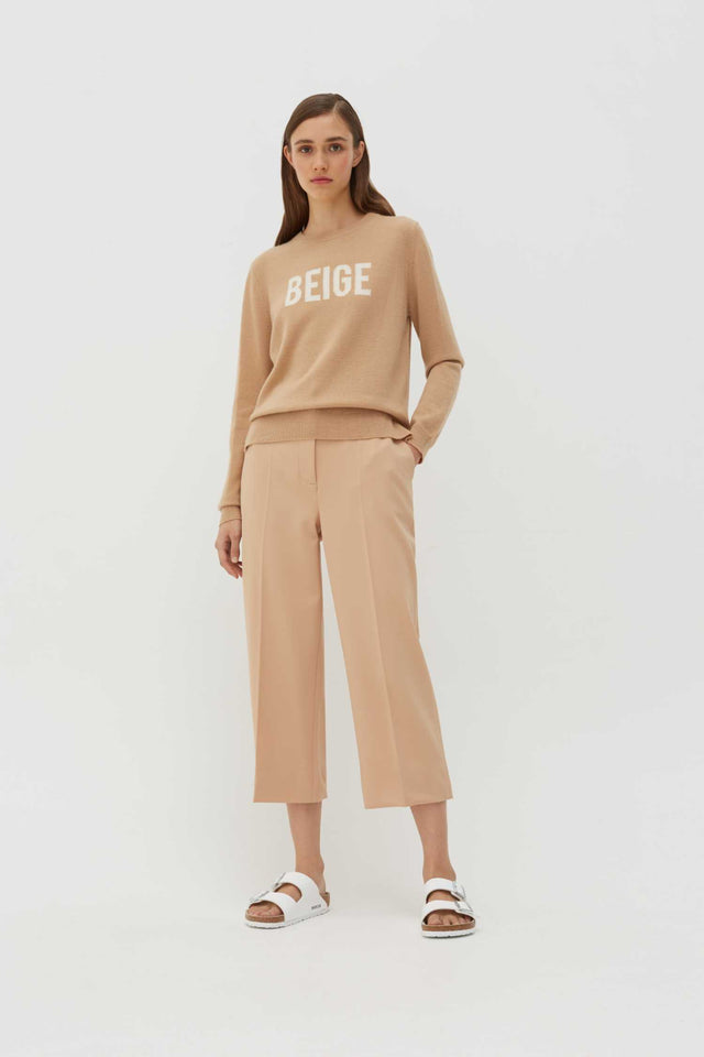 Beige Slogan Wool-Cashmere Sweater image 3