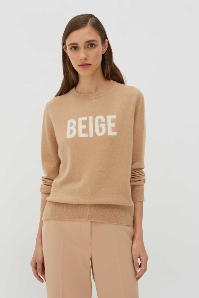 Beige Slogan Wool-Cashmere Sweater image 1