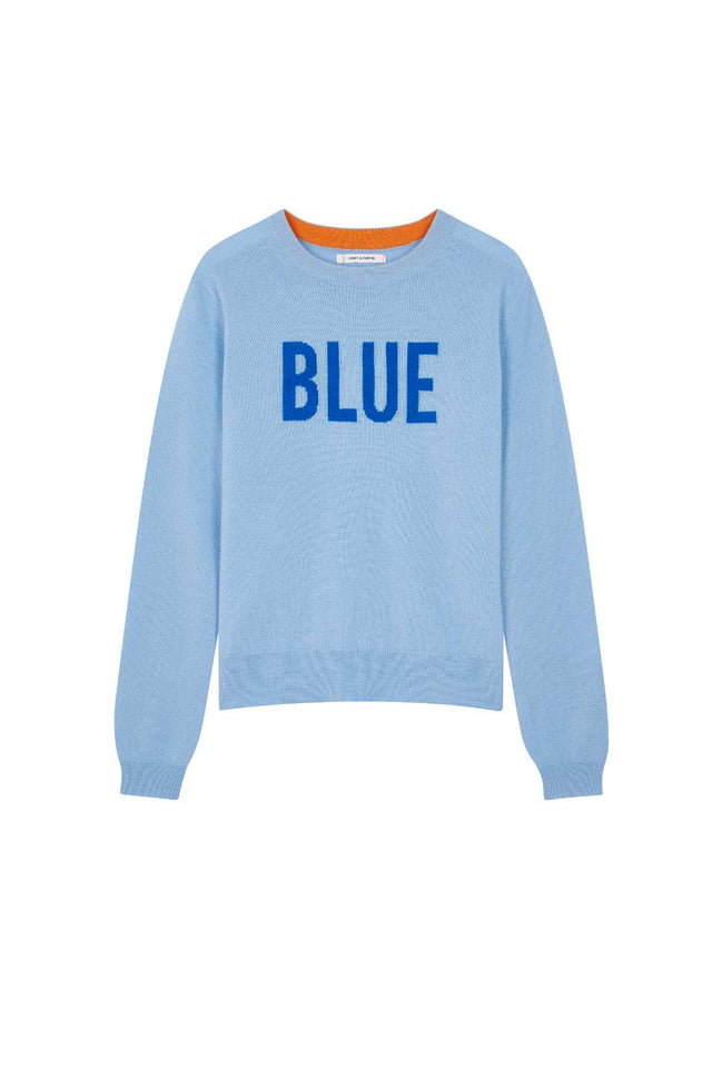 Blue Slogan Wool-Cashmere Sweater image 2