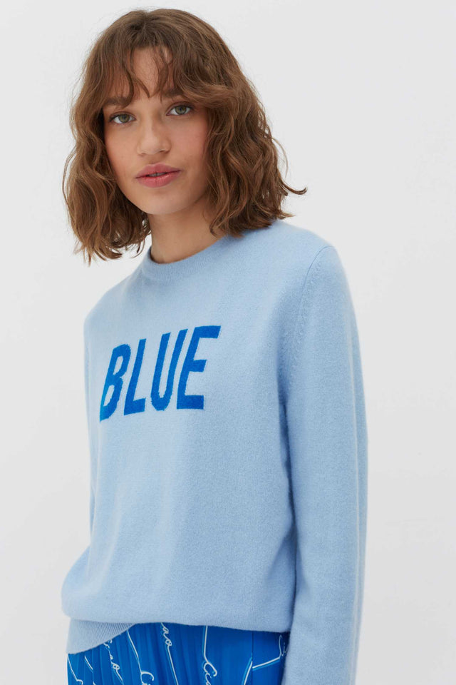 Blue Slogan Wool-Cashmere Sweater image 1
