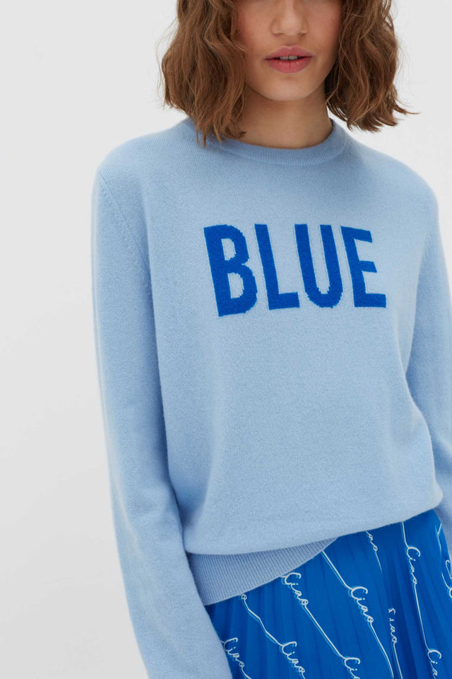 Blue Slogan Wool-Cashmere Sweater image 5