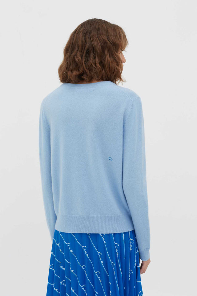 Blue Slogan Wool-Cashmere Sweater image 4