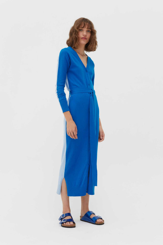 Royal-Blue Cotton-Cashmere Cardigan Dress image 1