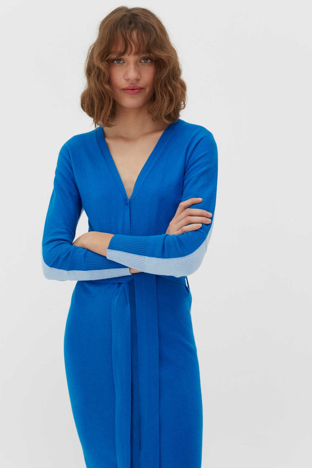Royal-Blue Cotton-Cashmere Cardigan Dress image 5