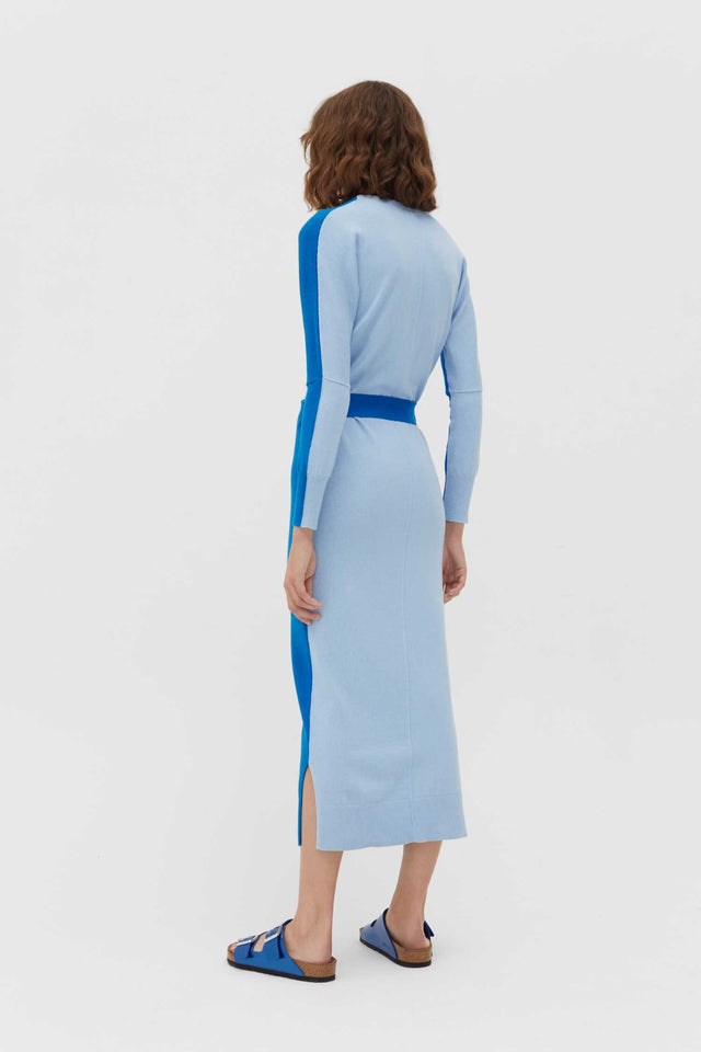 Royal-Blue Cotton-Cashmere Cardigan Dress image 4