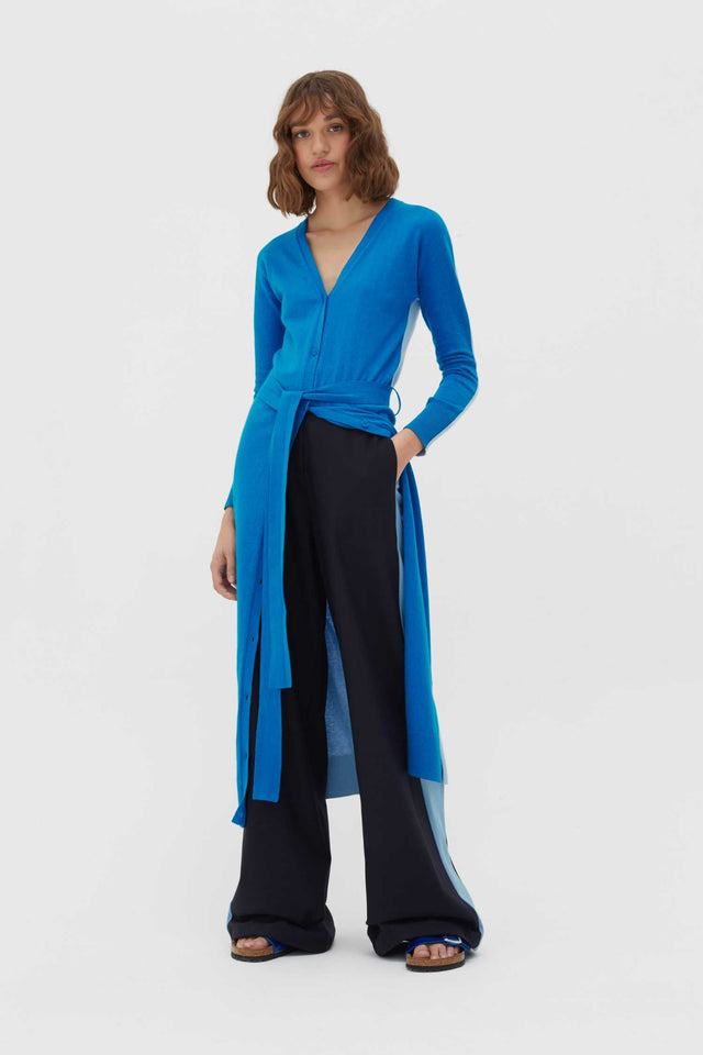 Royal-Blue Cotton-Cashmere Cardigan Dress image 3