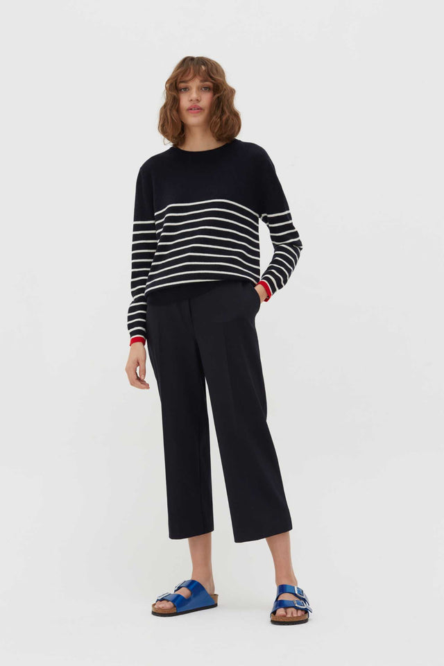 Navy Breton Striped Wool-Cashmere Sweater image 2