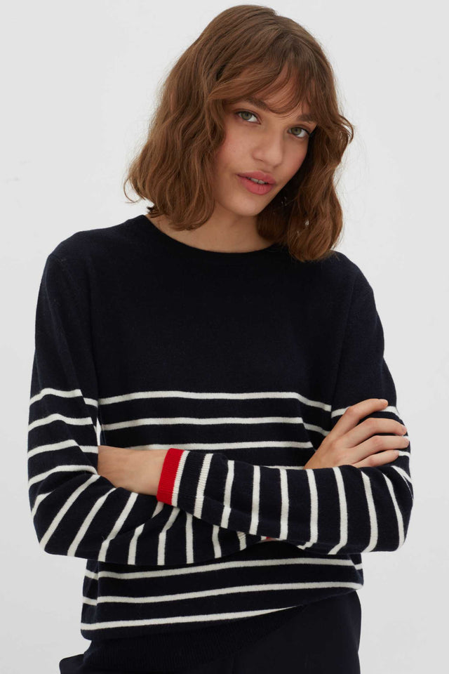 Navy Breton Striped Wool-Cashmere Sweater image 1