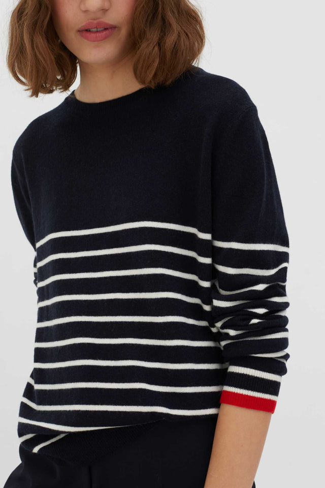 Navy Breton Striped Wool-Cashmere Sweater image 4