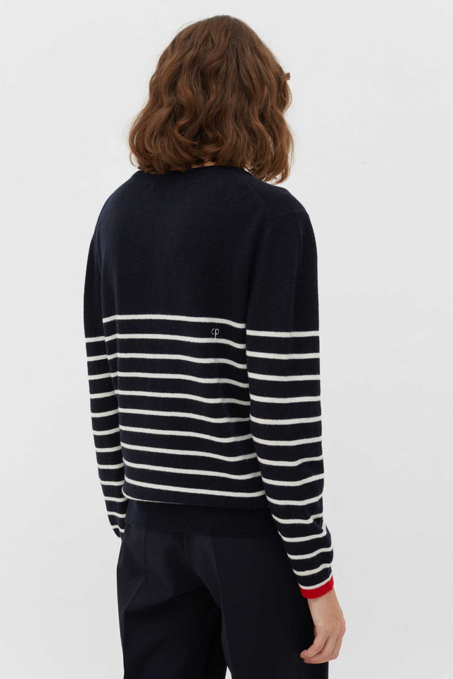 Navy Breton Striped Wool-Cashmere Sweater image 3