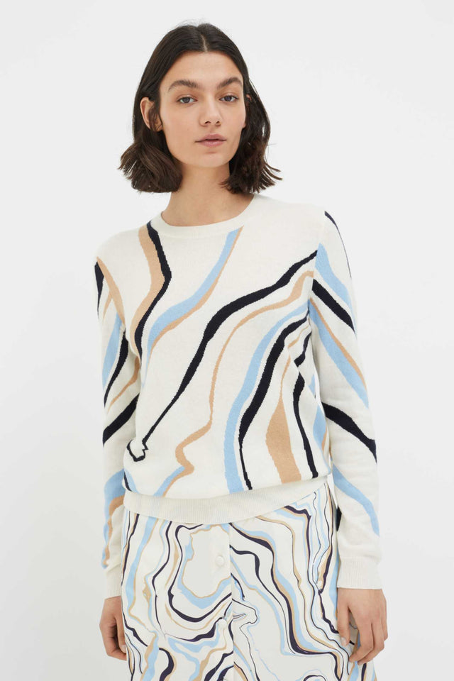 Cream Marble Wool-Cashmere Sweater image 1