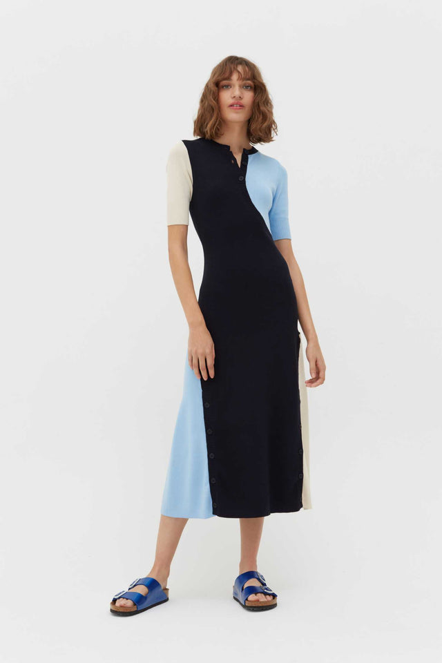 Navy Colour-Block Rib-Knit Cotton Dress image 1