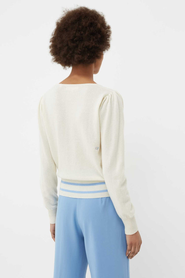 Cream Cashmere Ruched V-Neck Sweater image 3