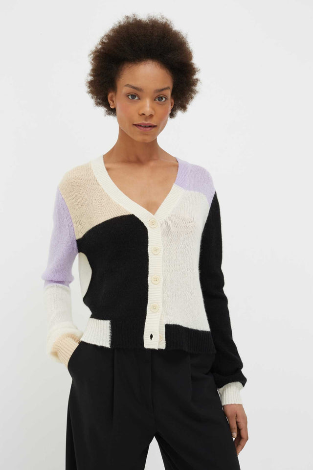 Lilac Colour Block Mohair-Wool Cardigan image 2