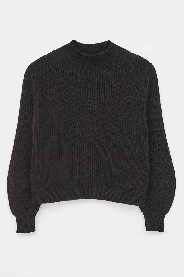 Black Rib-Knit Wool-Cashmere Sweater image 2