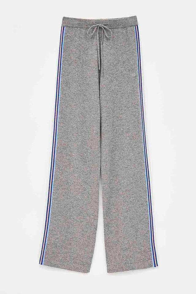 Grey Lines Wool-Cashmere Wide-Leg Pants image 2