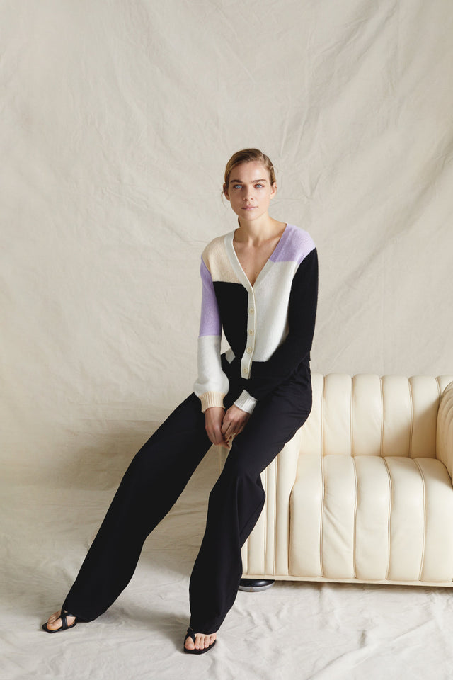 Lilac Colour Block Mohair-Wool Cardigan image 1