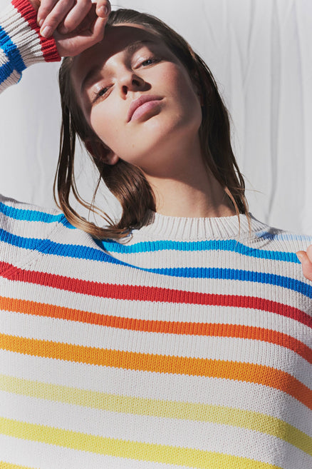 Rainbow Breton Stripe Chunky Knit Sweater