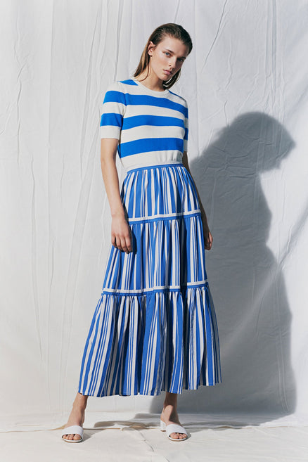 Blue Striped Jeanne Puff Sleeve T-Shirt