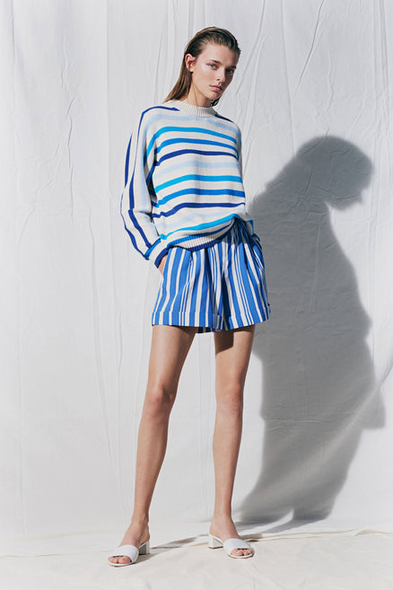 Blue Breton Stripe Chunky Knit Sweater