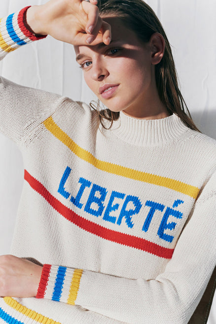 Cream Liberté Chunky Polo Neck Sweater