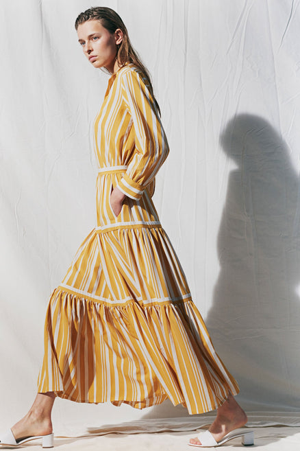 Yellow Striped Parasol Tiered Maxi Skirt