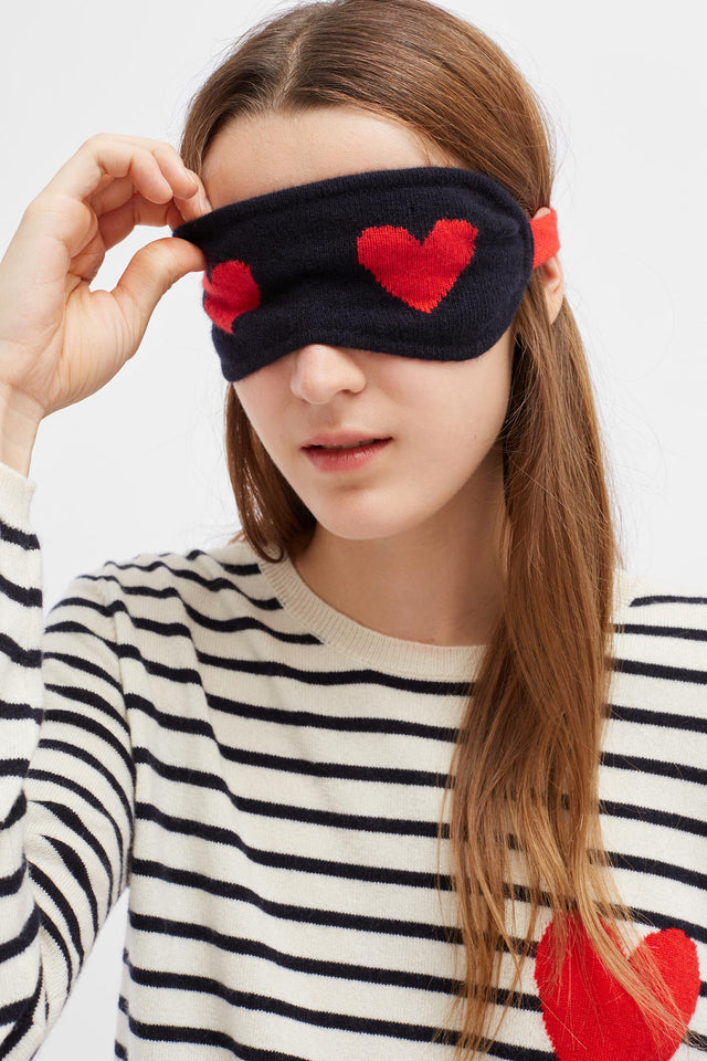 Navy Wool-Cashmere Slippers and Heart Eye Mask Gift Set image 2