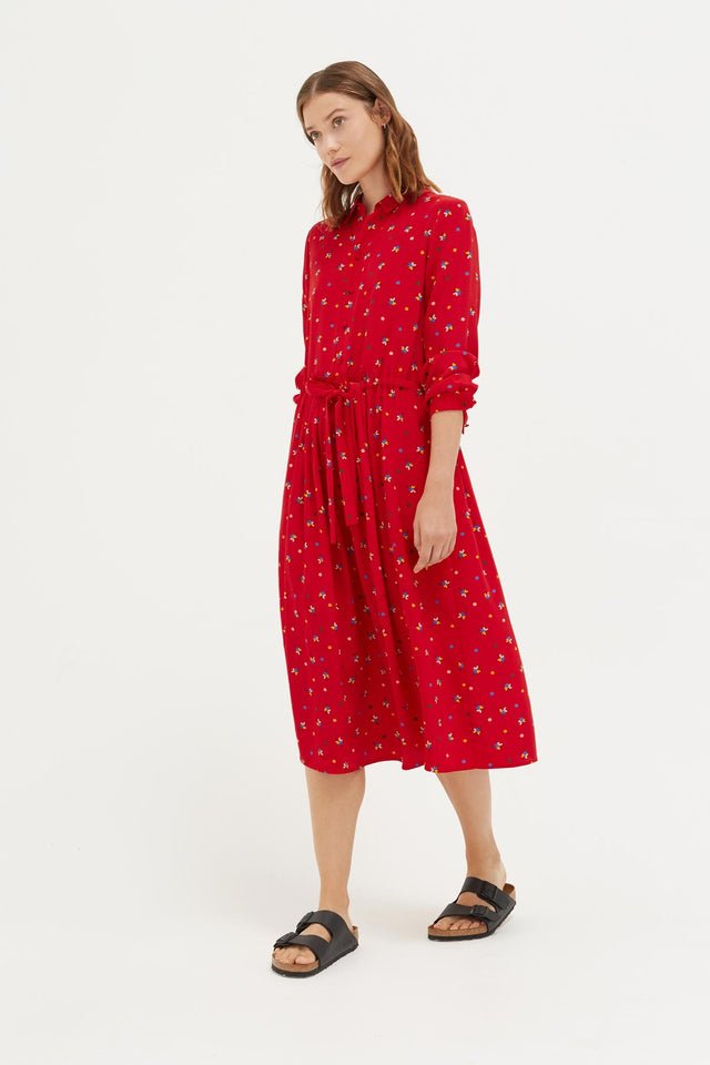 Red Lucky Clover Silk Shirt Dress image 1
