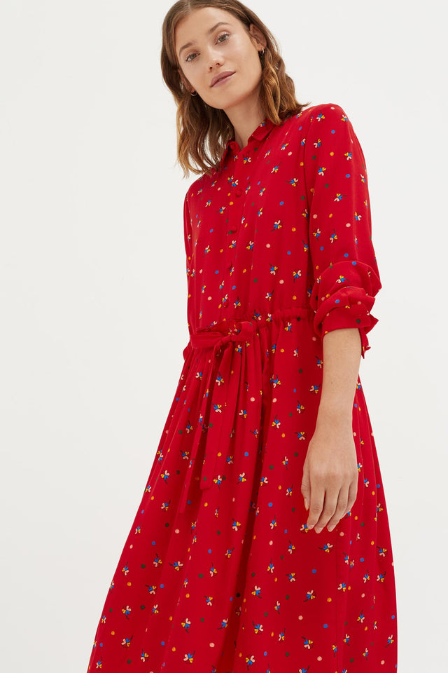 Red Lucky Clover Silk Shirt Dress image 2