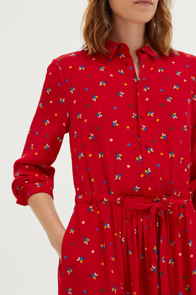 Red Lucky Clover Silk Shirt Dress image 3