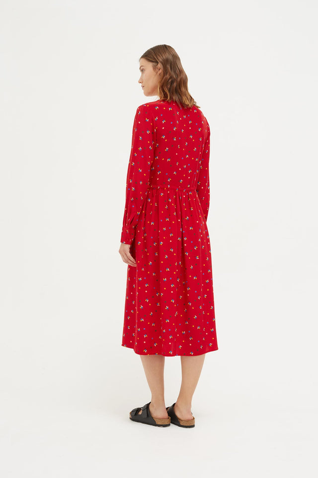 Red Lucky Clover Silk Shirt Dress image 4