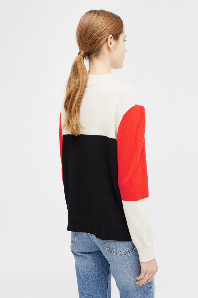 Cream Colour Block Turtle Sweater image 4
