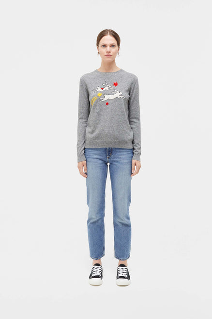 Grey Magic Bunny Cashmere Sweater