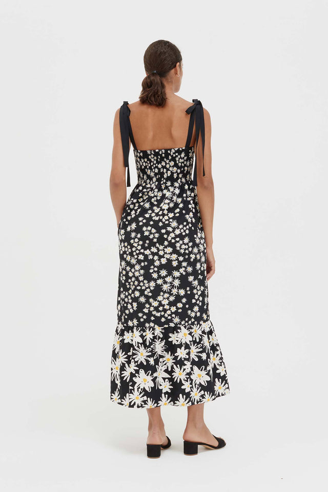 Black Cotton and Silk Floral Sun Dress image 6