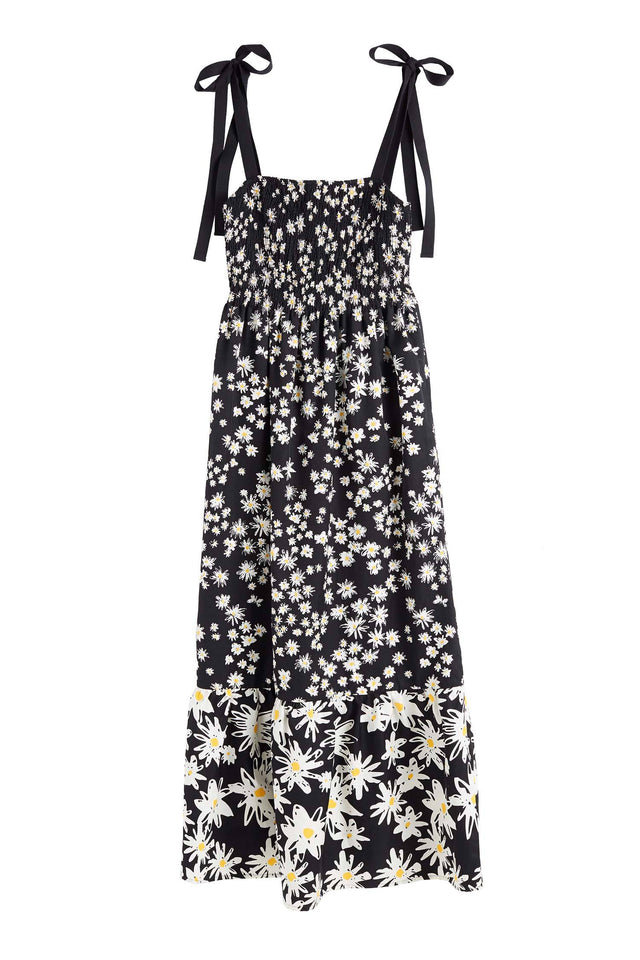 Black Cotton and Silk Floral Sun Dress image 2