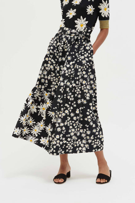 Black Cotton and Silk Floral Skirt