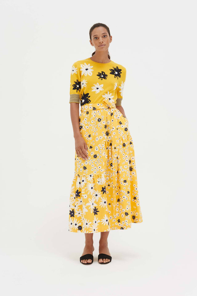Yellow Cotton and Silk Floral Skirt image 4