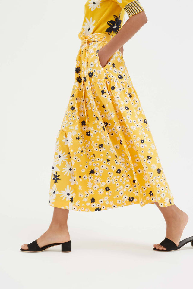 Yellow Cotton and Silk Floral Skirt image 5