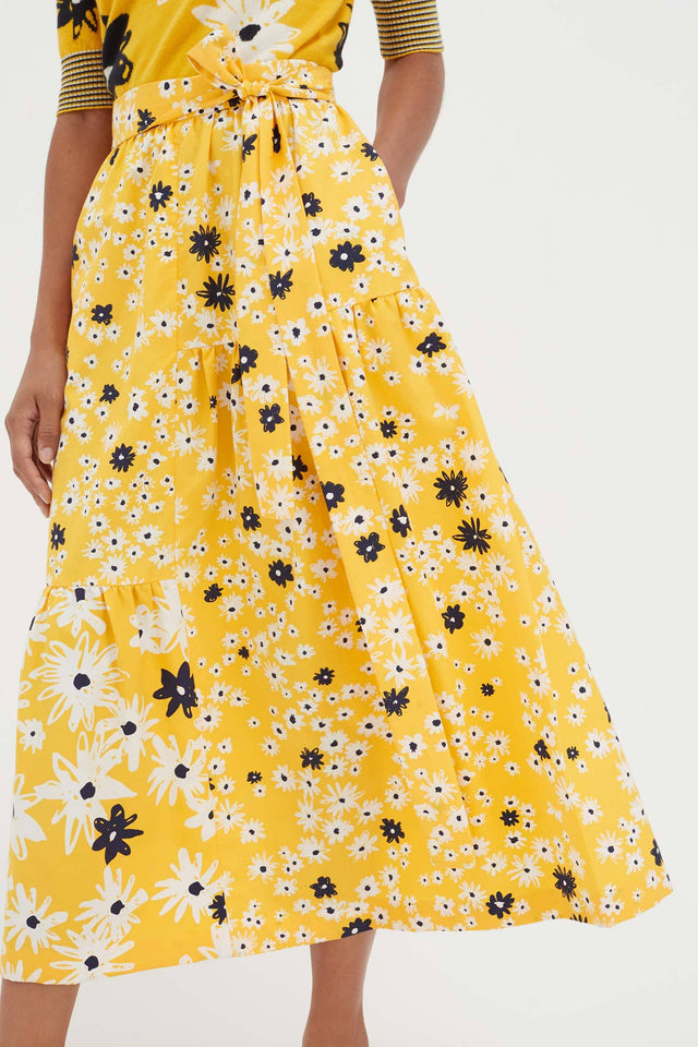 Yellow Cotton and Silk Floral Skirt image 3