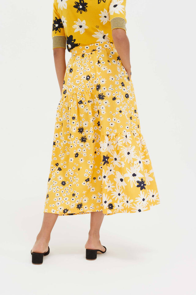 Yellow Cotton and Silk Floral Skirt image 6