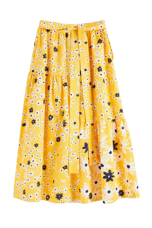 Yellow Cotton and Silk Floral Skirt image 2