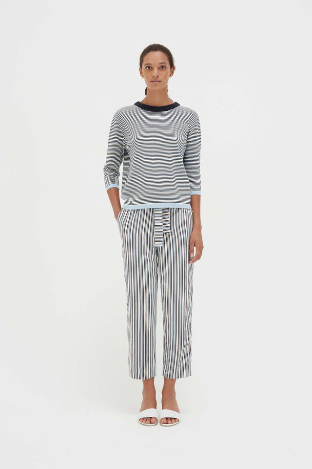 Blue Cotton Striped Summer Sweater image 4