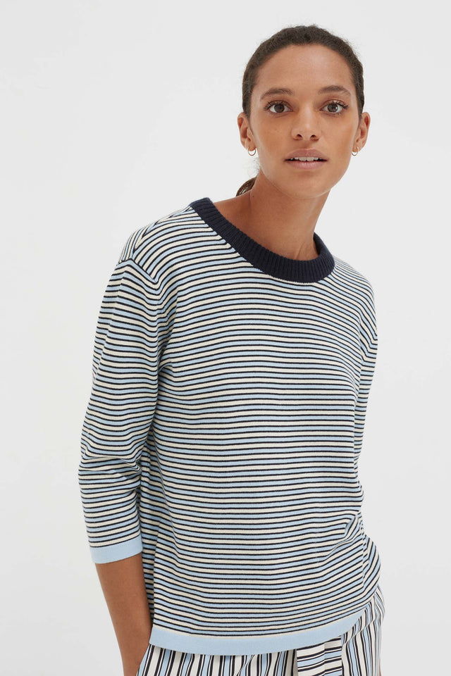 Blue Cotton Striped Summer Sweater image 3