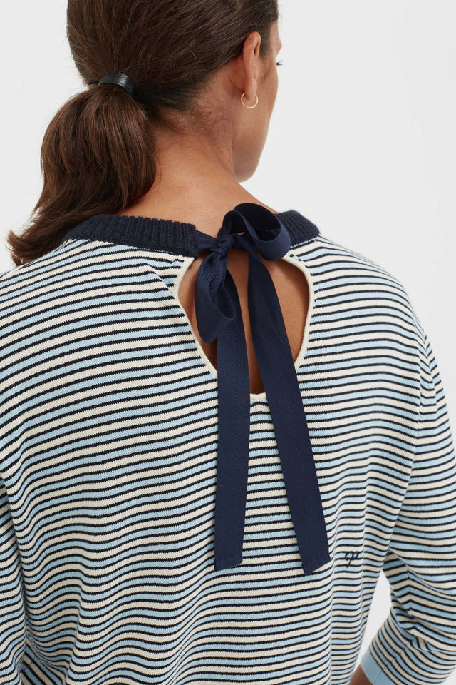 Blue Cotton Striped Summer Sweater image 1