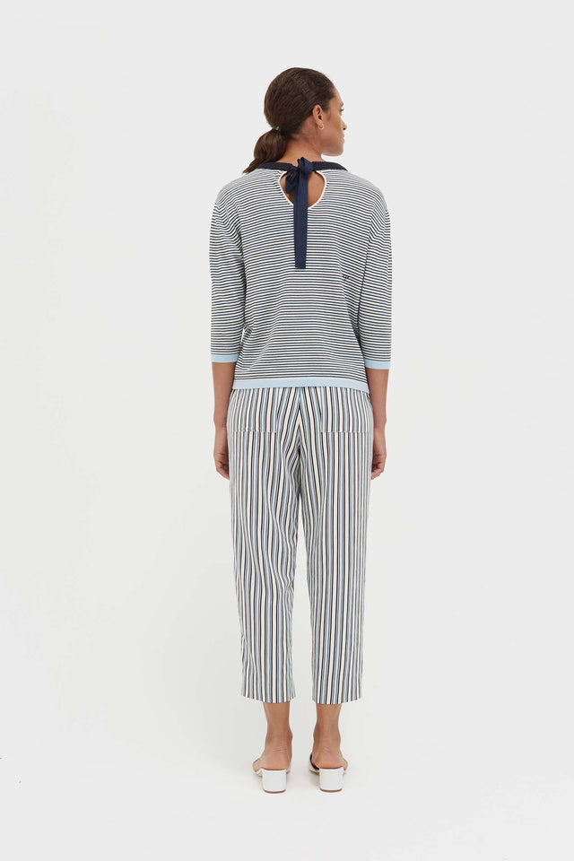 Blue Cotton Striped Summer Sweater image 5