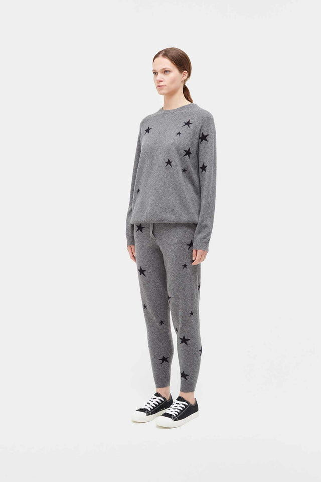 Grey Slouchy Star Cashmere Sweater image 3