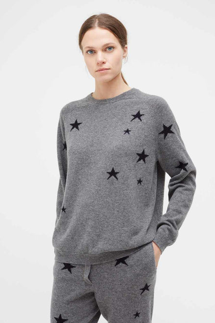 Grey Slouchy Star Cashmere Sweater