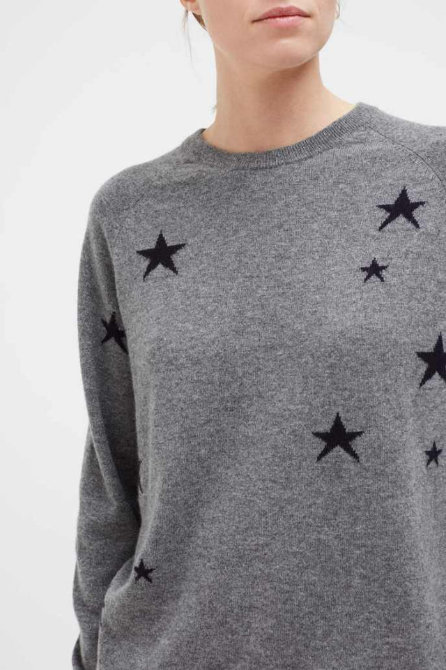 Grey Slouchy Star Cashmere Sweater image 5