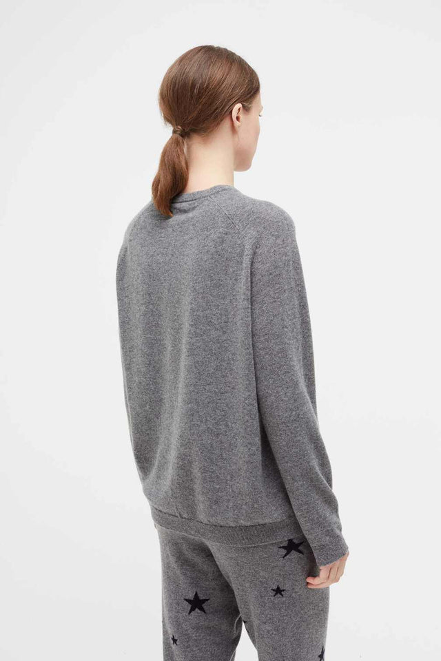Grey Slouchy Star Cashmere Sweater image 4
