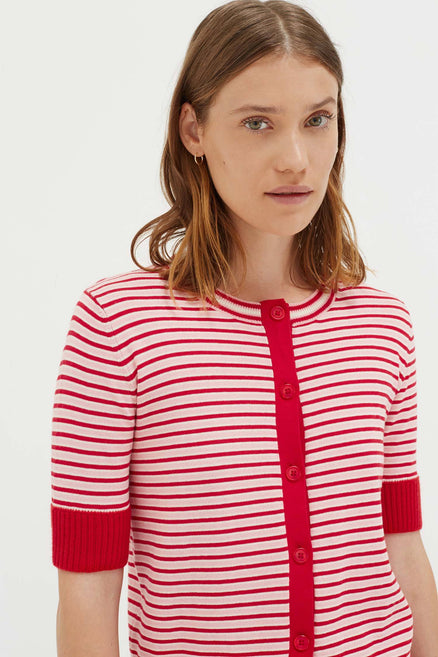 Red Cotton Striped Summer Cardigan